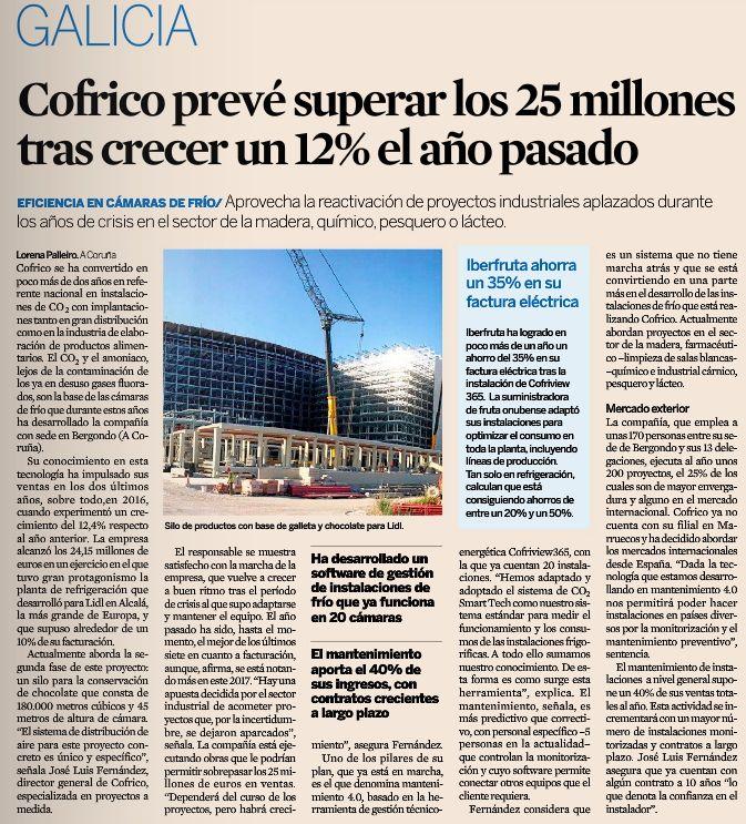 Cofrico preve superar los 25 millones tras crecer expansion 2017