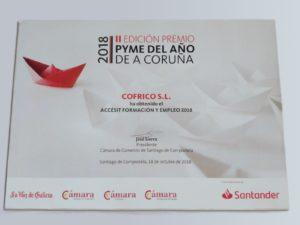 Premio PYME Empleo 2018 Accesit Formacion y Empleo