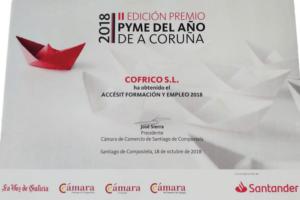 Cofrico Accesit Premio Pyme Coruna Formacion Empleo 2018